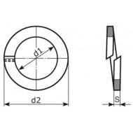 RONDELLA ELASTICA GROWER in acciaio per molle bonificato BRUNITA C70 UNI 1751 DIN 127/B